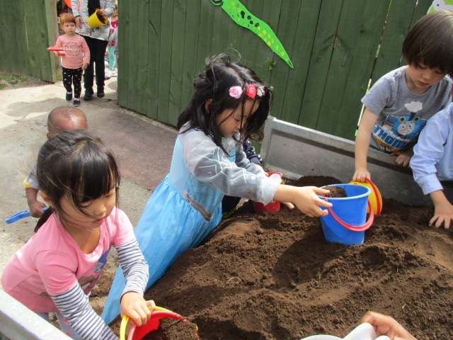 Moving dirt to our new planter box