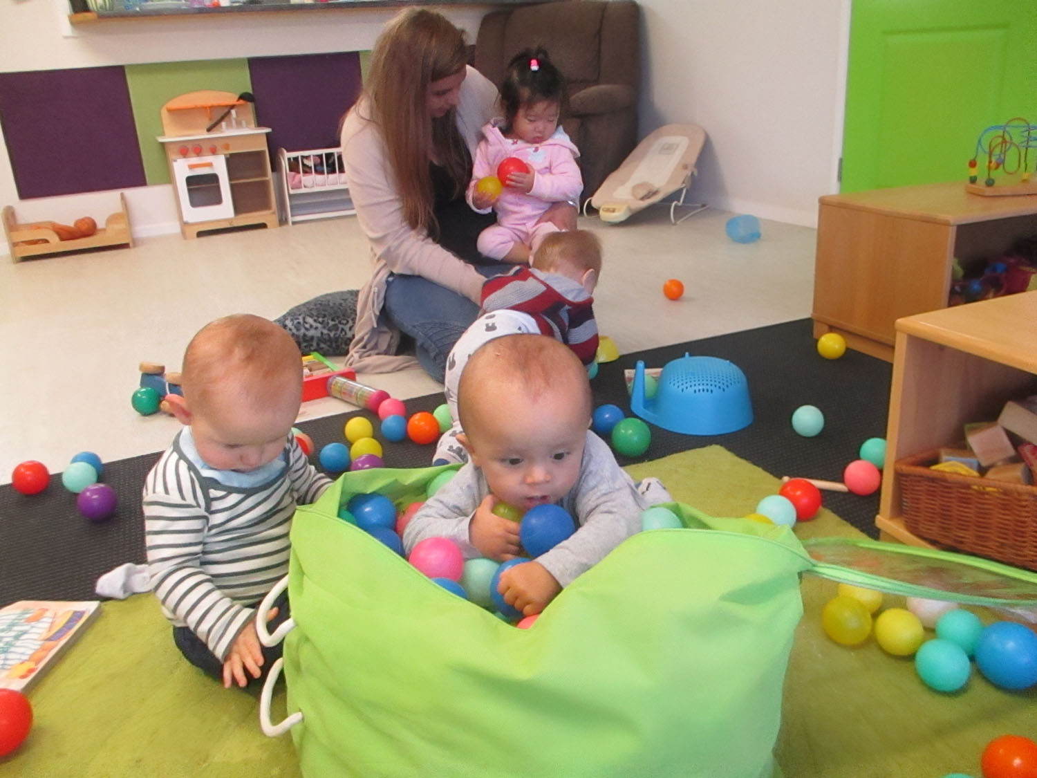 Ball exploration in the babies room